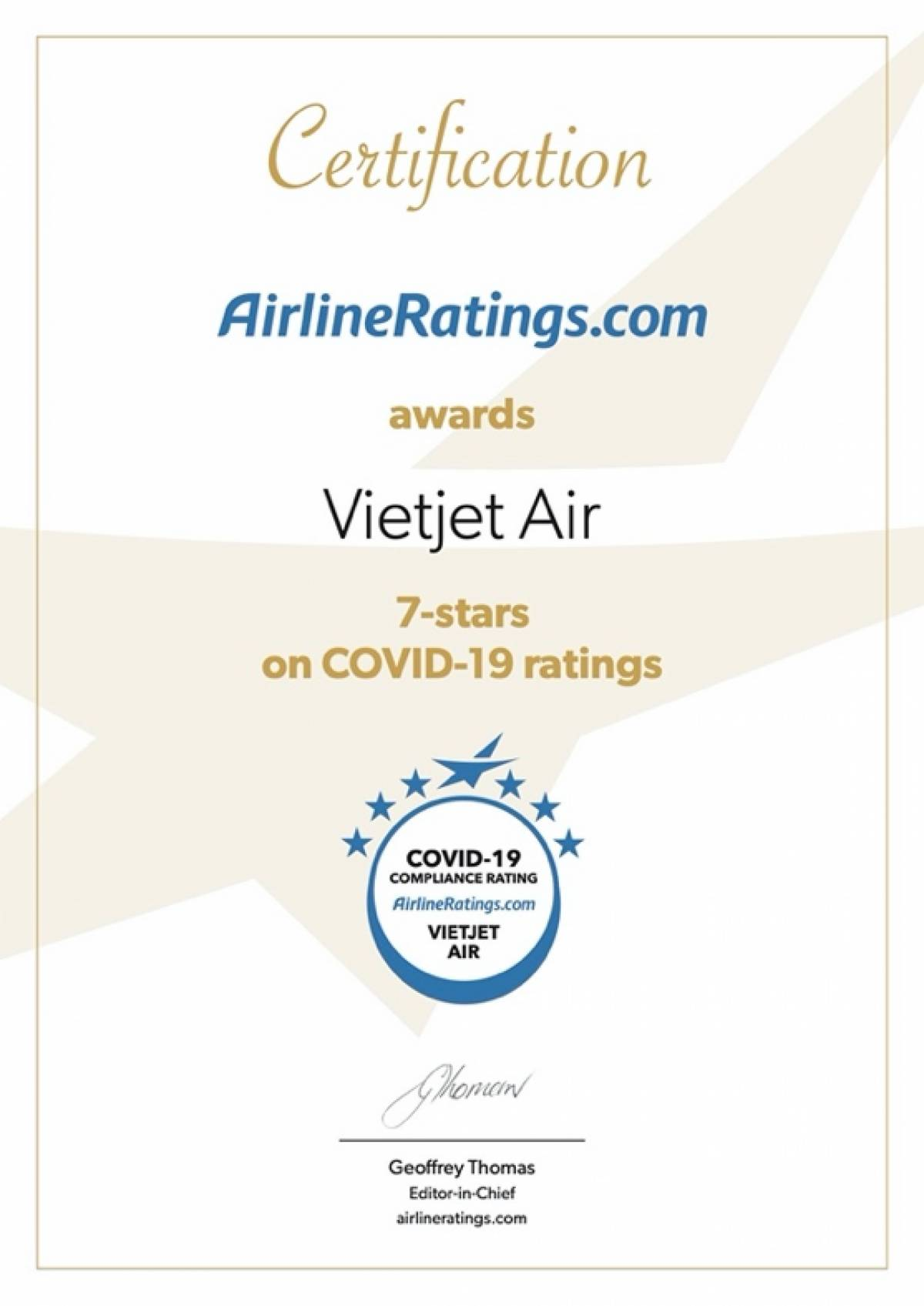Vietjet Certified With the Highest Global Ranking for Covid-19 Compliance