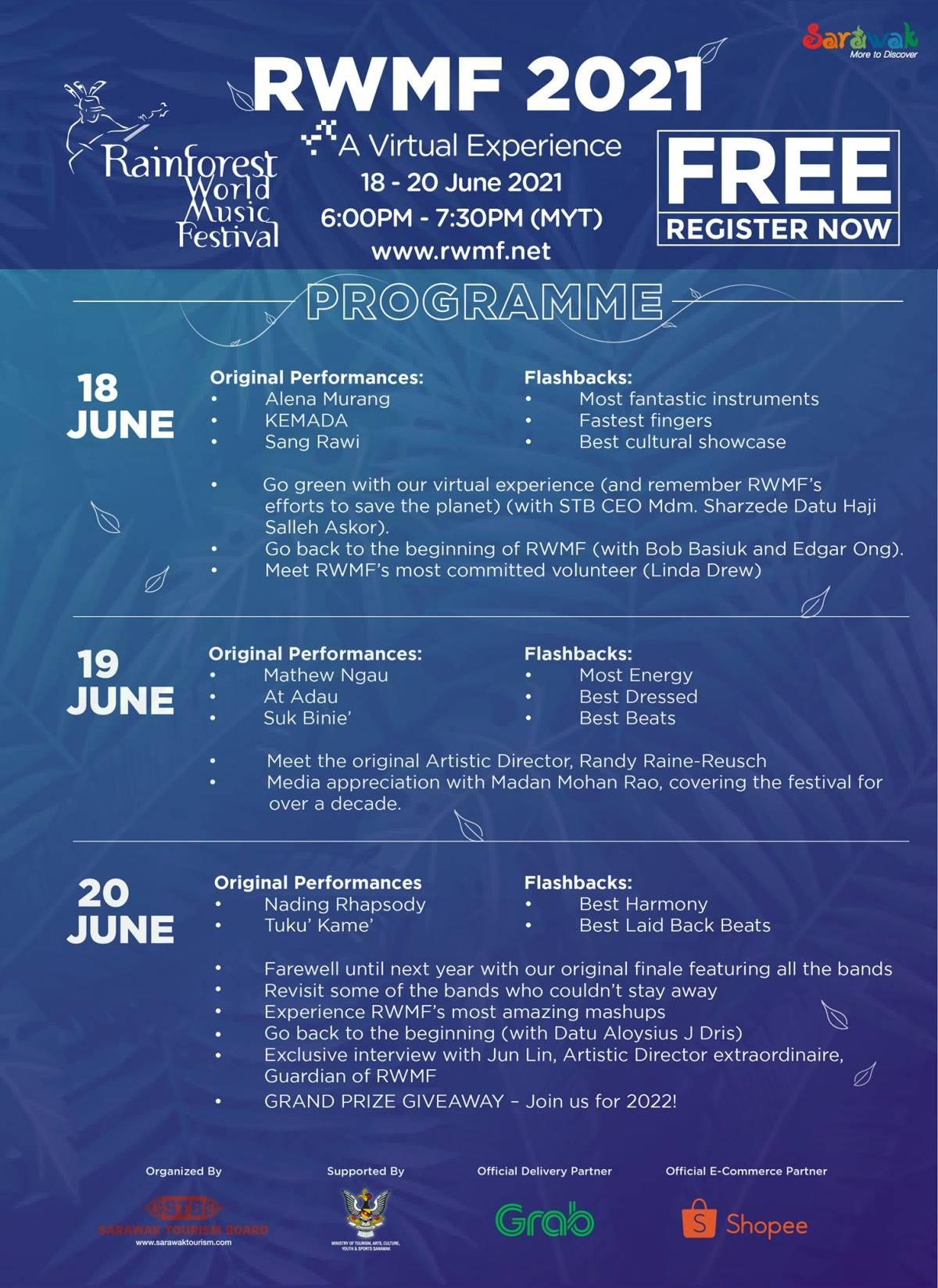 The Programme for The Rainforest World Music Festival June 18-20, 2021