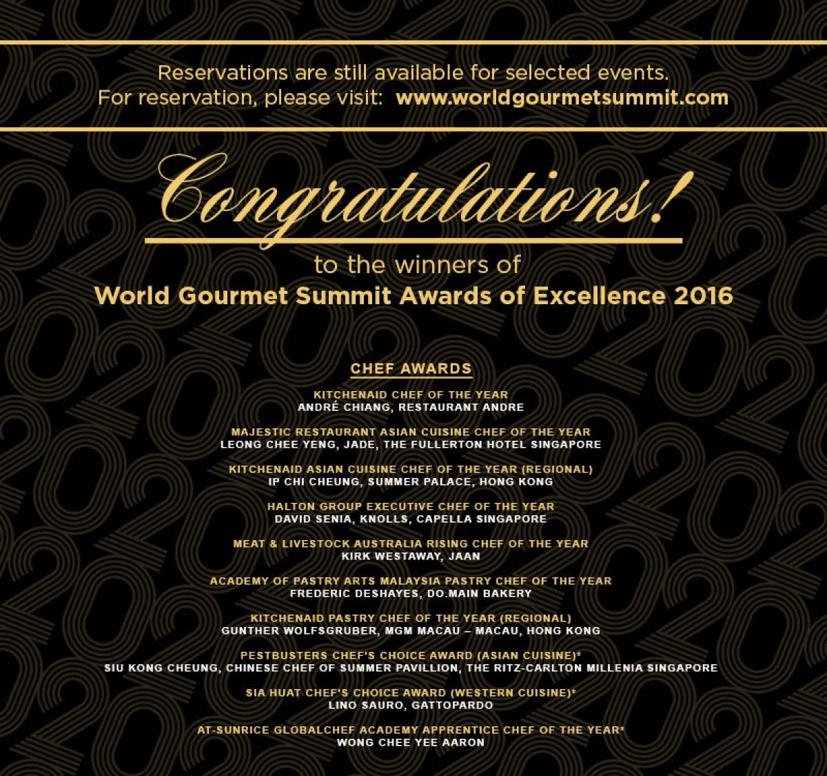 WORLD GOURMET SUMMIT CELEBRATES 20th YEAR MILESTONE