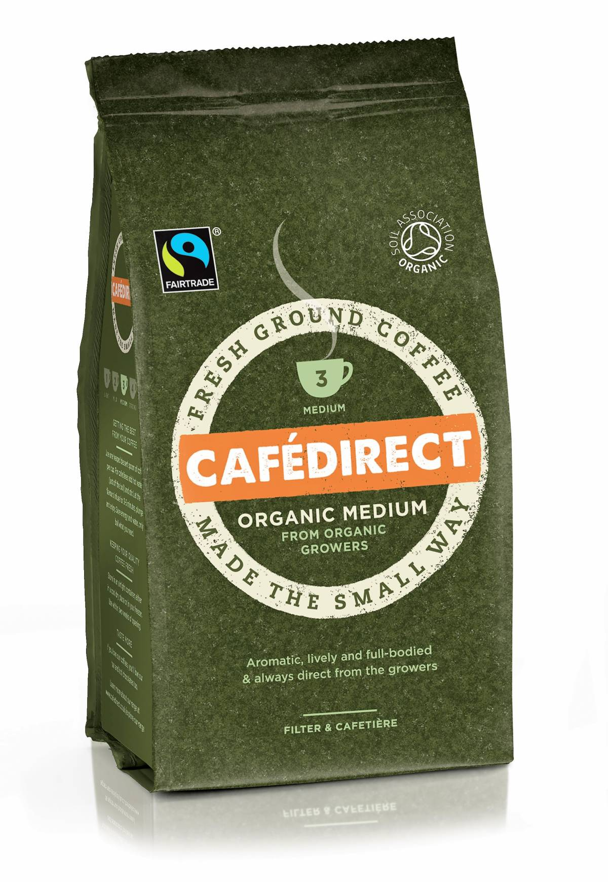 CAFÉDIRECT ORGANIC MEDIUM ROAST COFFEE BRINGS THE BEST OF NATURE'S NATURAL HARVEST TO COFFEE LOVERS